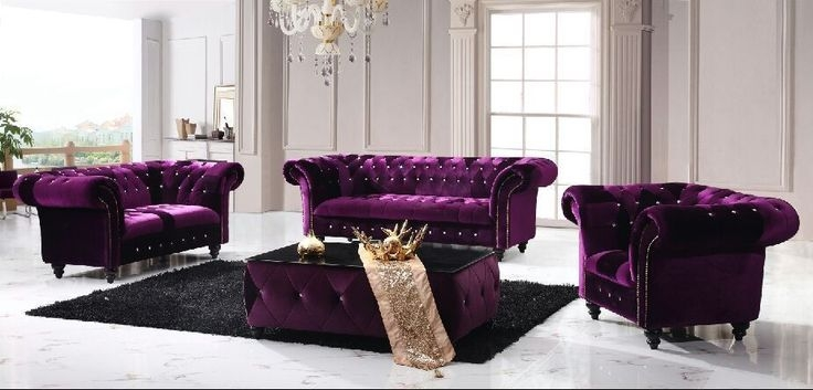 Victoria Chesterfield Boutique Crush Velvet 3 2 Purple Sofa With Regard To Velvet Purple Sofas (#15 of 15)