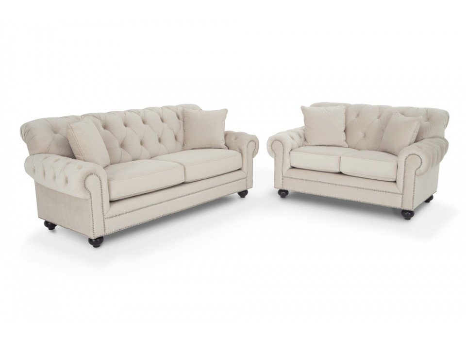 Victoria Sofa Loveseat Living Room Sets Living Room Bobs Inside Cheap Tufted Sofas (#15 of 15)