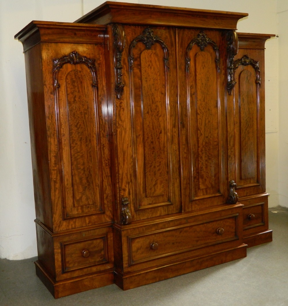 Victorian Mahogany Breakfront Wardrobe 268052 Sellingantiques For Breakfront Wardrobe (View 10 of 15)