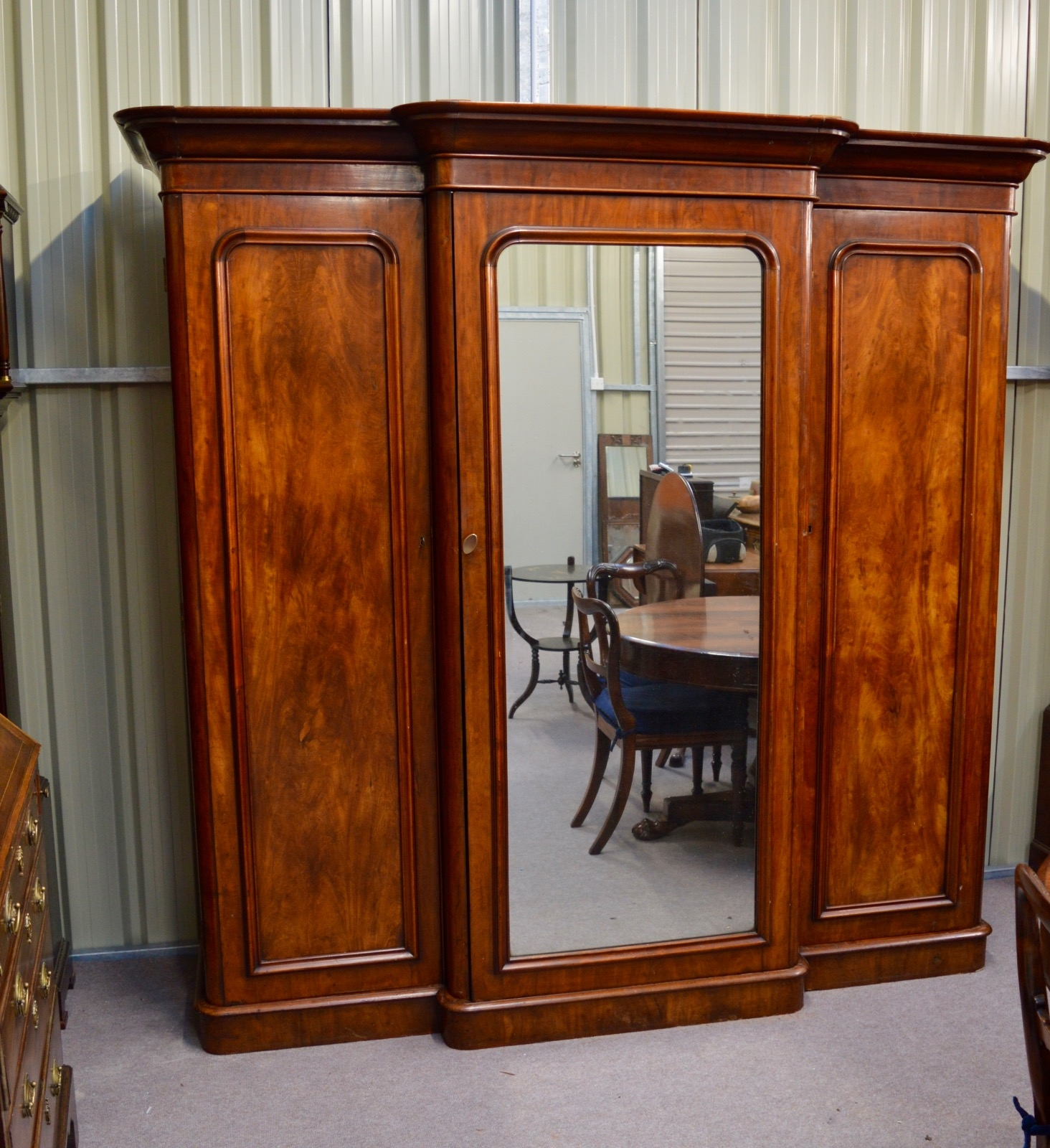 Victorian Mahogany Breakfront Wardrobe Compactum Triple Wardrobe In Breakfront Wardrobe (View 12 of 15)