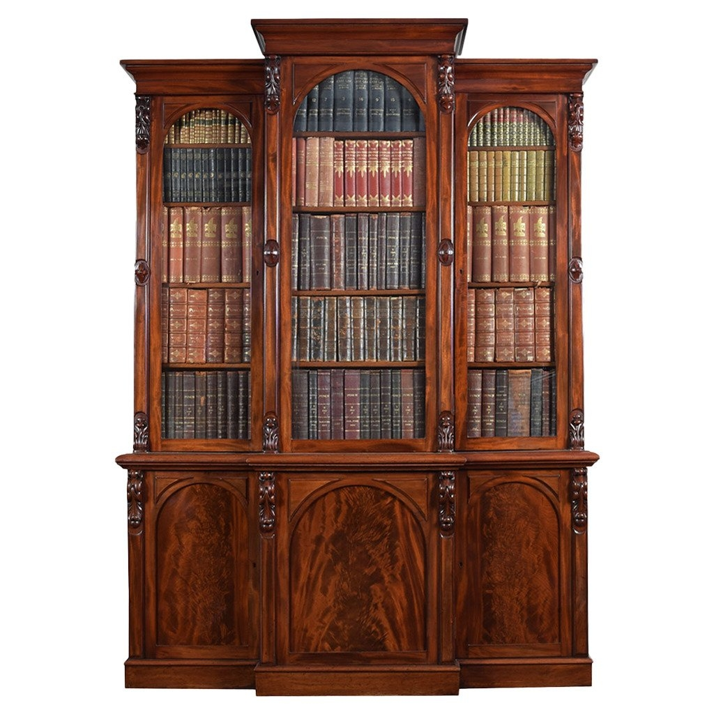 Victorian Mahogany Three Door Breakfront Bookcase For Sale At 1stdibs Intended For Breakfront Bookcase (#13 of 15)