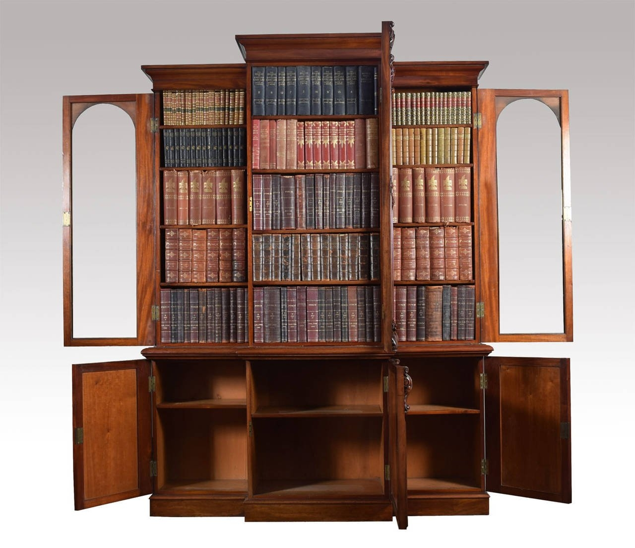 Victorian Mahogany Three Door Breakfront Bookcase For Sale At 1stdibs Within Breakfront Bookcase (#14 of 15)