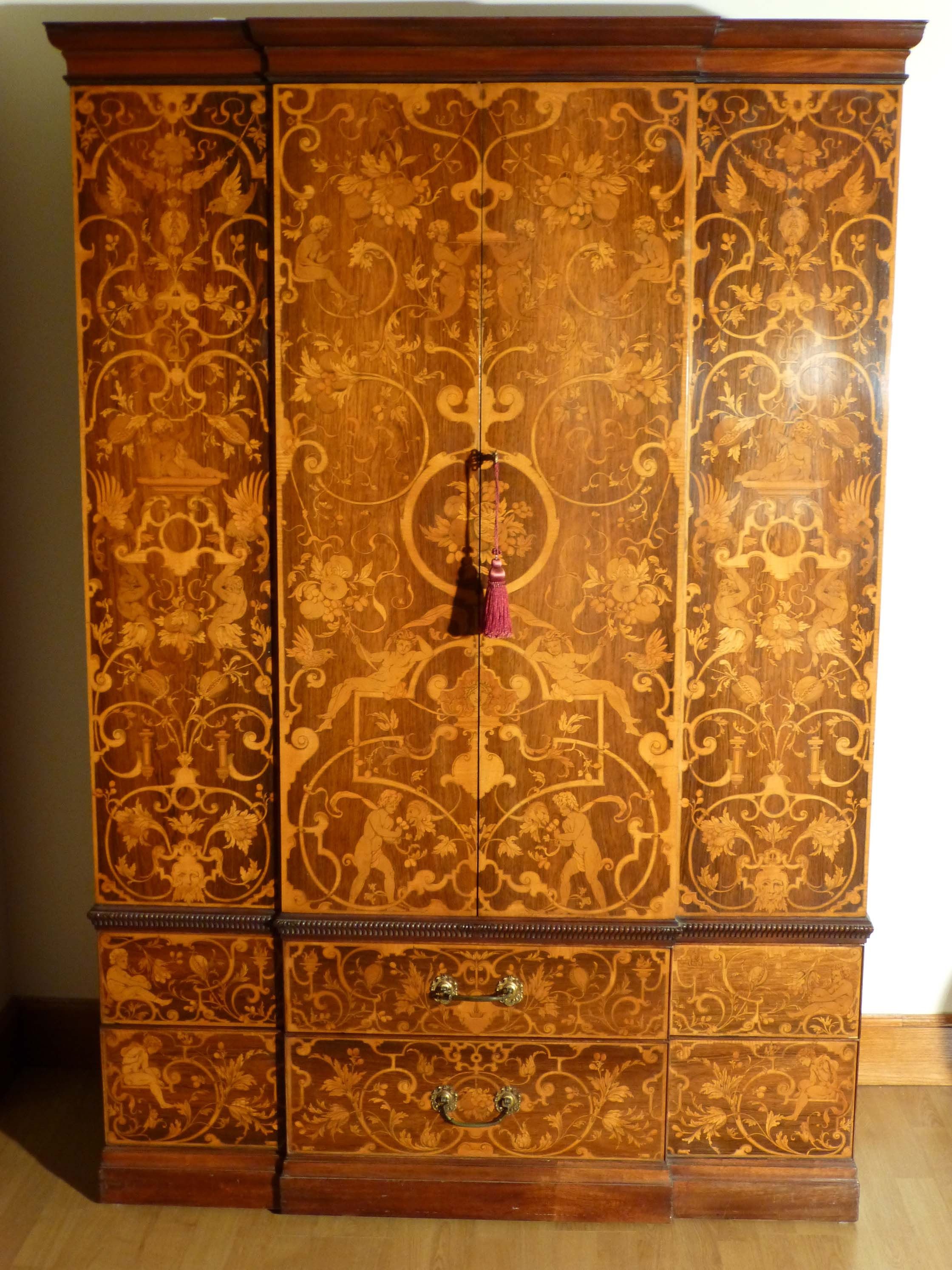 Victorian Marquetry Breakfront Wardrobeantique Breakfront Wardrobe Within Breakfront Wardrobe (View 14 of 15)