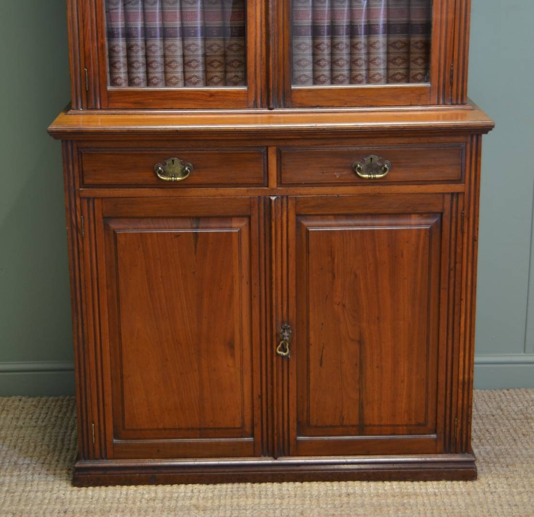 Victorian Walnut Antique Glazed Bookcase On Cupboard Antiques World Within Bookcase With Cupboard Under (#13 of 15)