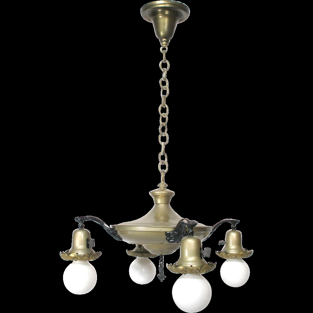 Vintage 4 Bell Dome Light Pan Flying Saucer Style Chandelier Throughout Vintage Style Chandelier (#8 of 12)