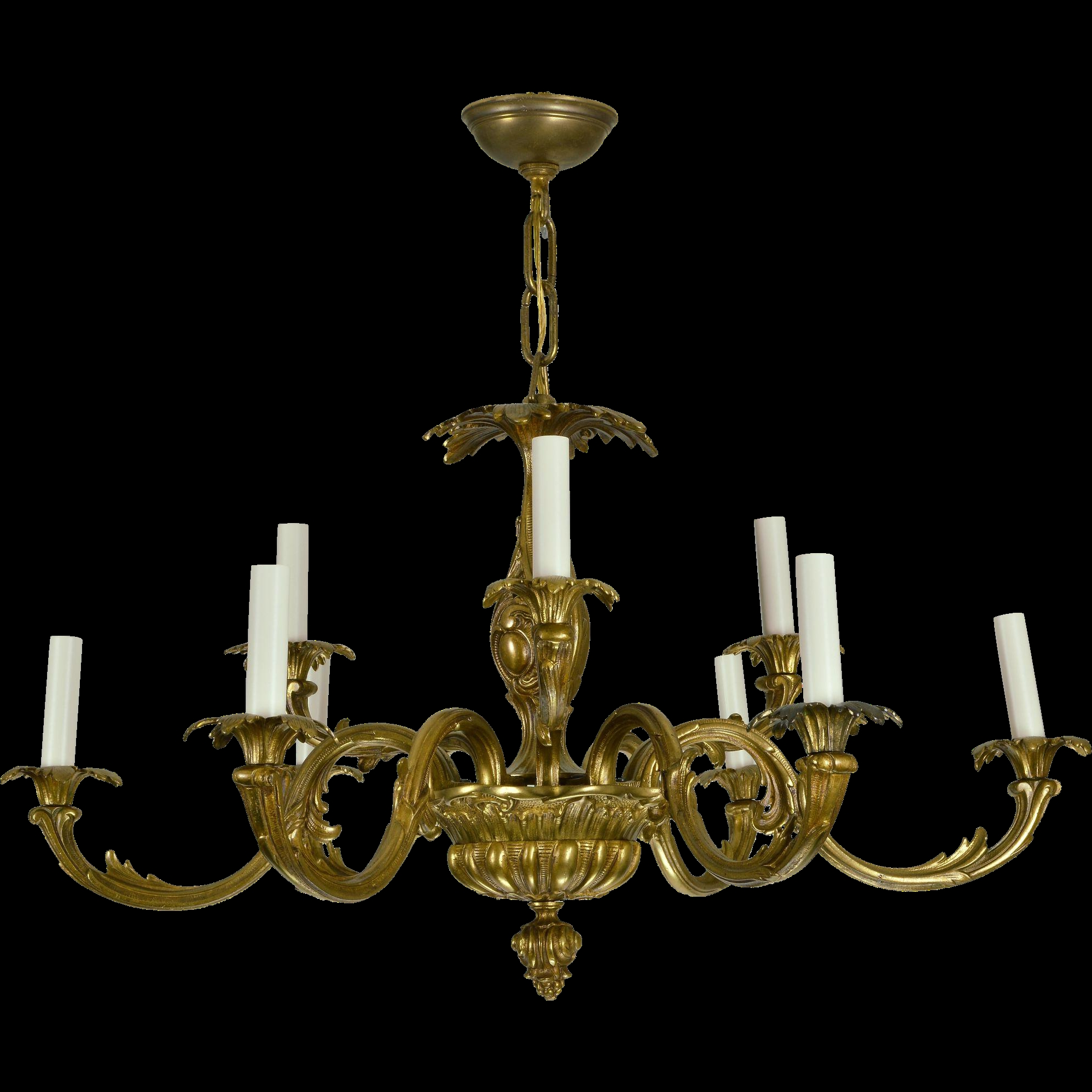 Vintage Brass French Baroque Chandelier From Tolw On Ru Lane Pertaining To Old Brass Chandelier (#11 of 12)