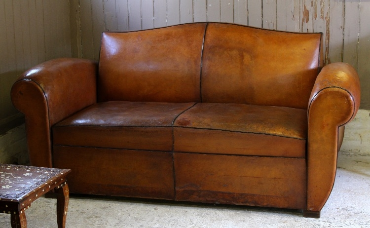Vintage French Leather Moustache Back Two Seater Sofa Bed Pertaining To Vintage Leather Sofa Beds (#12 of 15)