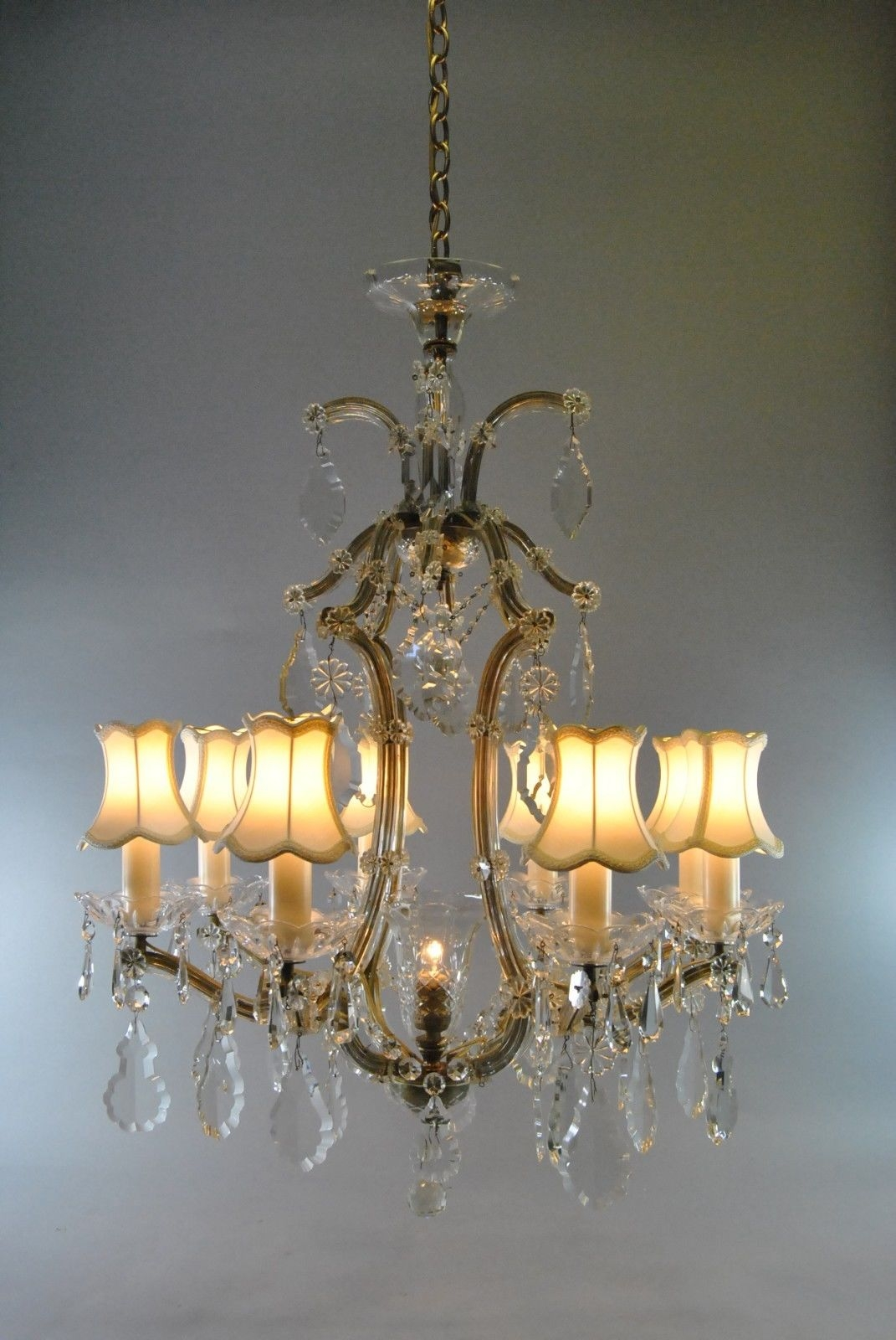 Vintage French Style 8 Arm Crystal Chandelier Lefflers Antiques For French Style Chandelier (#12 of 12)