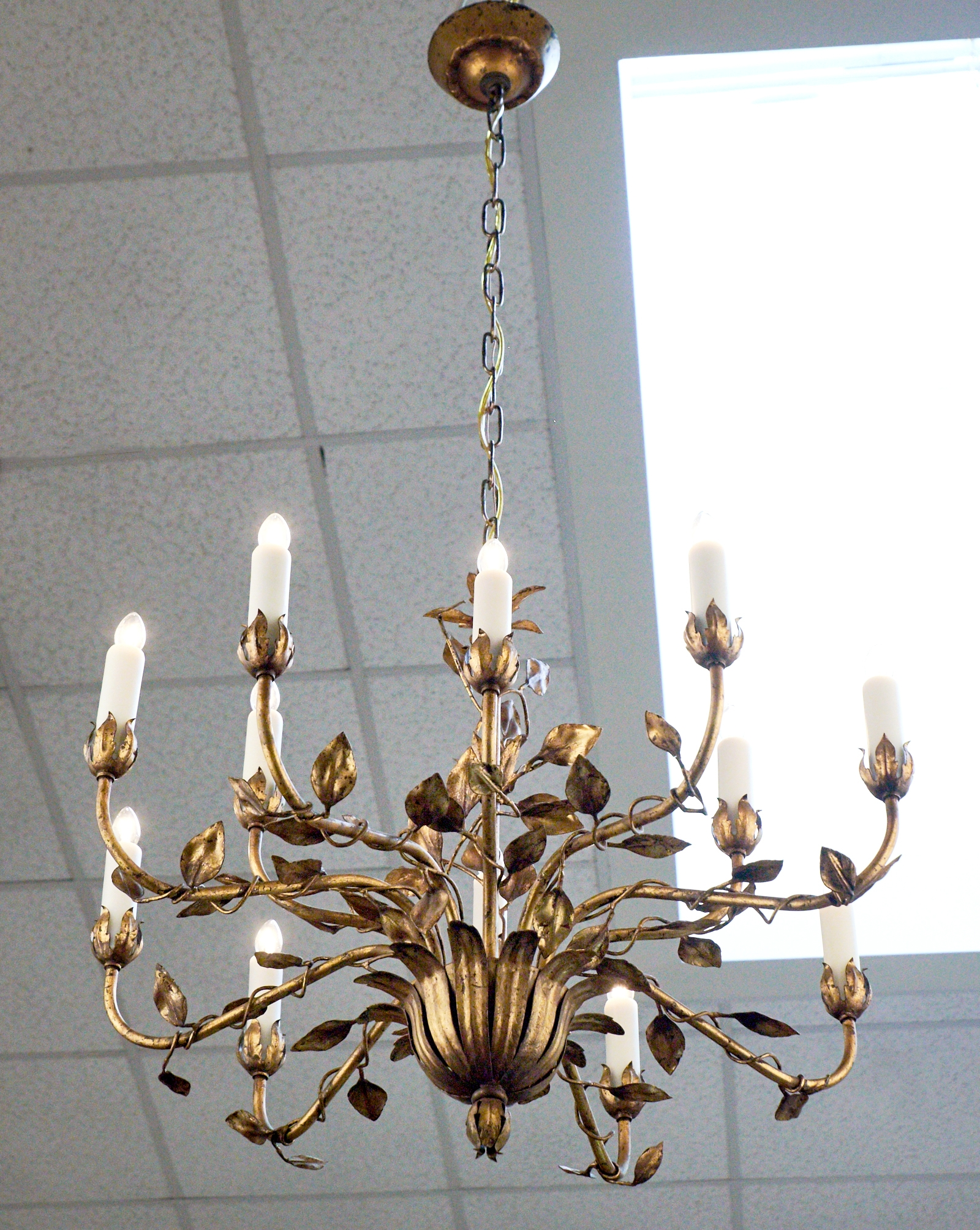 Vintage Gold Leaf Tole Chandelier Jean Marc Fray Throughout Gold Leaf Chandelier (#12 of 12)