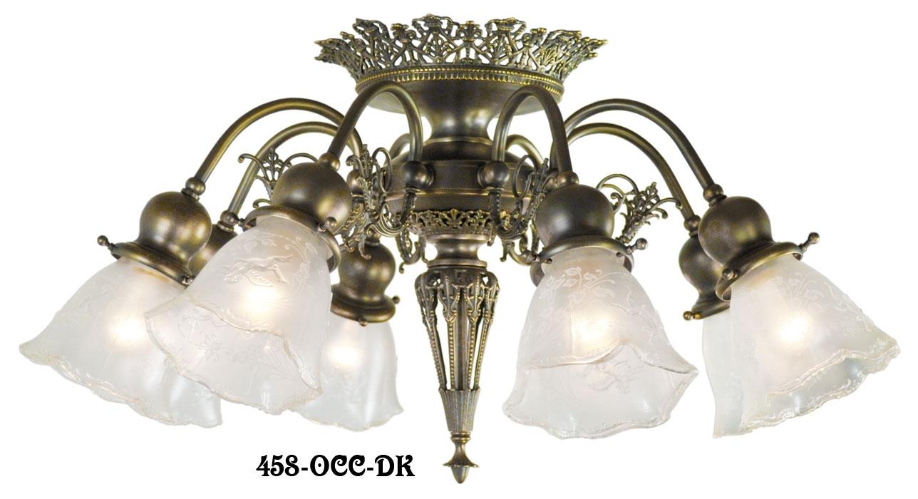 Vintage Hardware Lighting 8 Light Pierced Brass Short Ceiling For Short Chandelier (#10 of 12)