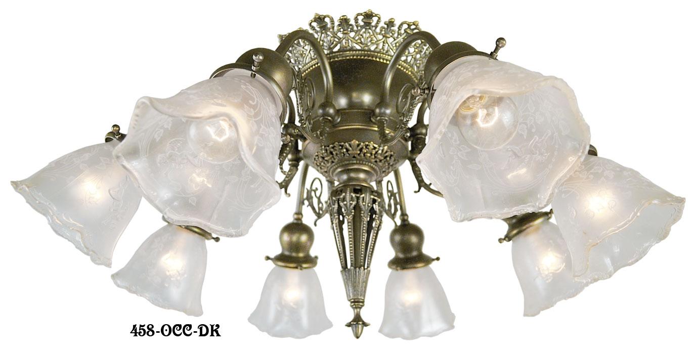 Vintage Hardware Lighting 8 Light Pierced Brass Short Ceiling Inside Short Chandelier (#11 of 12)