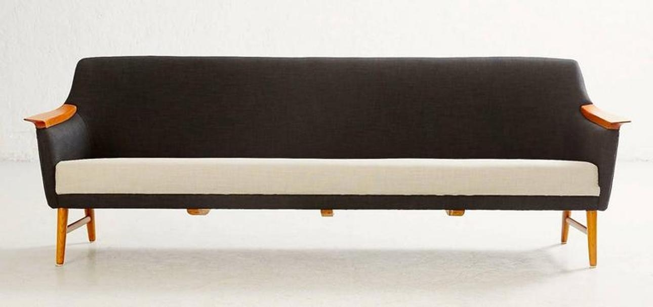 Vintage Scandinavian Modern Long Black And White Sofa From Stranda In Long Modern Sofas (#15 of 15)