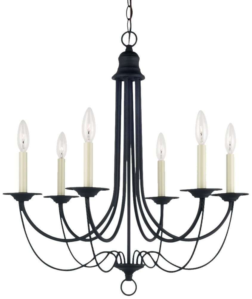Vintage Style Black Chandelier 25110 Blacksmith Finish Six Lights Intended For Vintage Style Chandelier (#11 of 12)