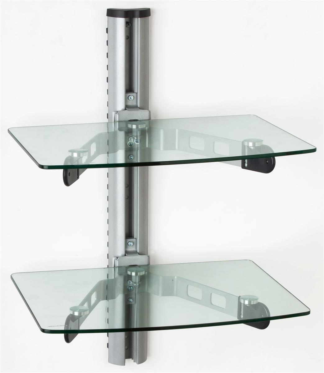 Wall Mounted Glass Shelves Av Component Stand Throughout Wall Mounted Glass Shelves (#6 of 12)