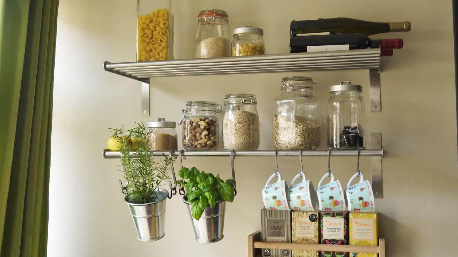 Wall Shelves Design Metal Kitchen Wall Shelves Ideas Wall Metal Regarding Kitchen Wall Shelves (#12 of 12)