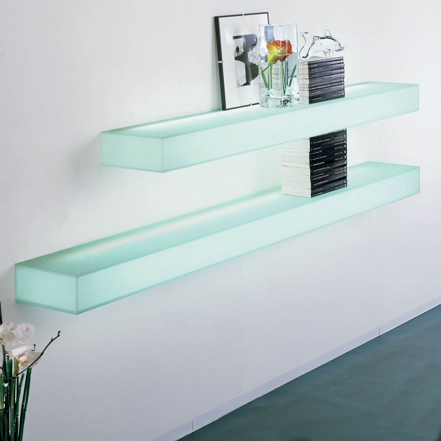 Wall Shelves Design New Collection Floating Glass Shelves Wall Within Glass Suspended Shelves (#15 of 15)