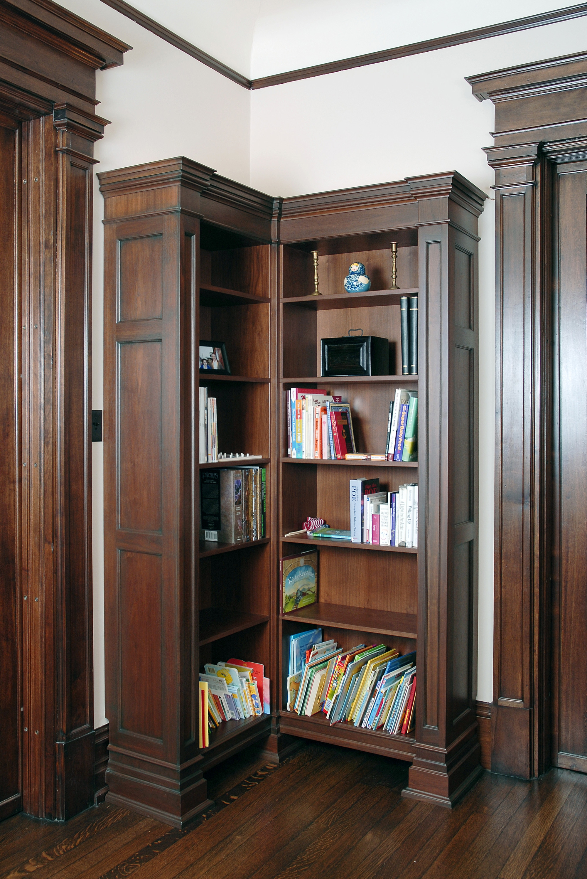 Walnut Bookcases In Existing Library Custom Cabinetry Ken Leech Regarding Corner Library Bookcase (View 15 of 15)