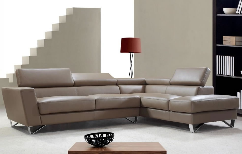 Waltz Modern Leather Sectional Sofa With Adjustable Headrests Within Leather Sofa Sectionals For Sale (#14 of 15)