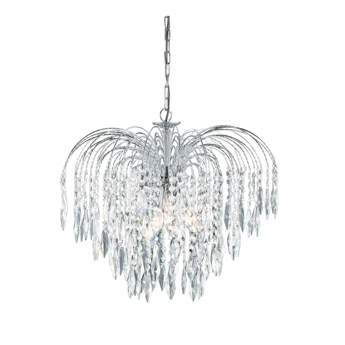 Waterfall 5 Light Crystal Chandelier Hegarty Lighting Ltd Throughout Crystal Waterfall Chandelier (View 12 of 12)