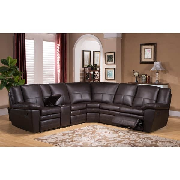 Waverly Premium Top Grain Brown Leather Reclining Sectional Sofa Within Recliner Sectional Sofas (View 3 of 15)
