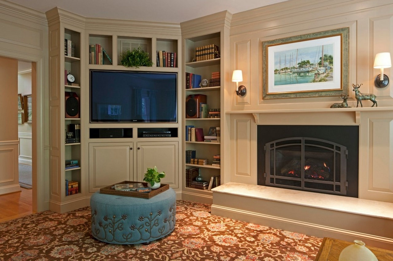 When And How To Place Your Tv In The Corner Of A Room With Regard To Family Room Bookcases (#15 of 15)