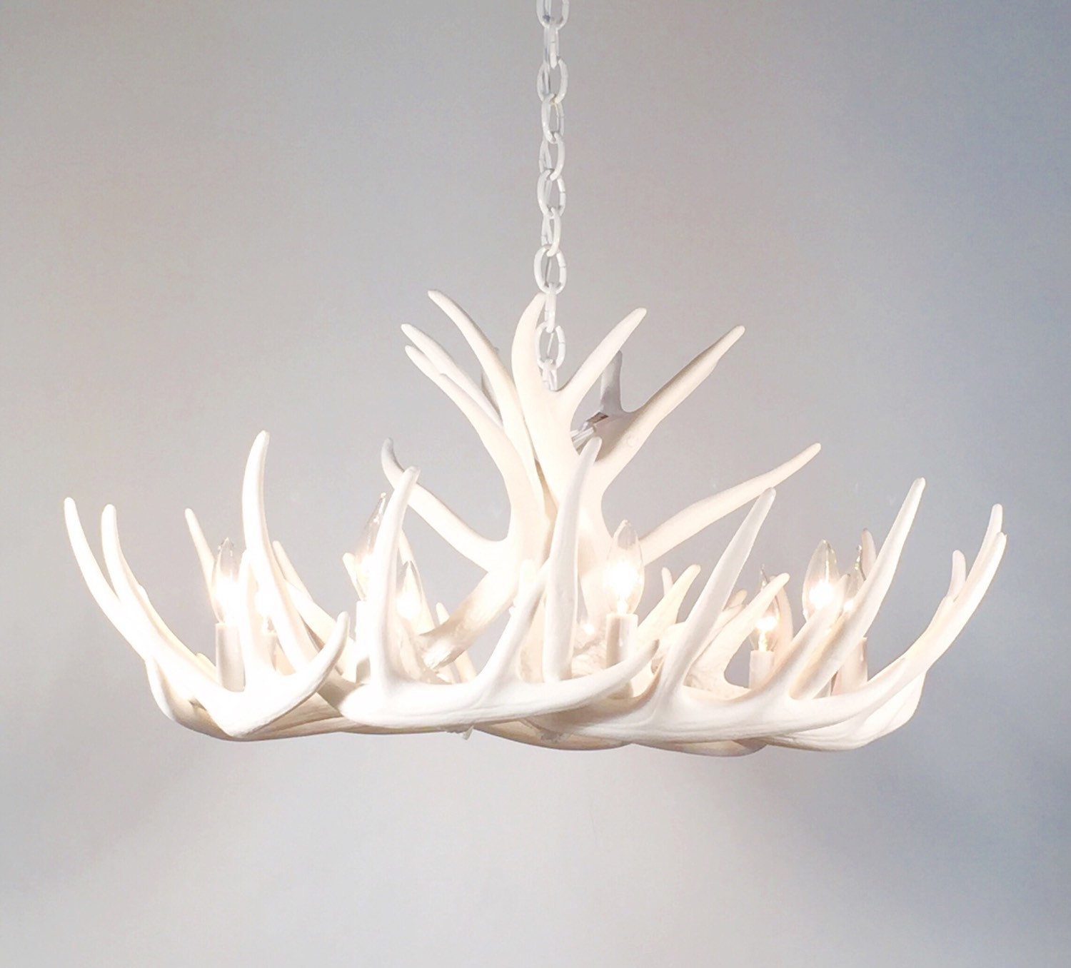 White Antler Chandelier Faux Antler Chandelier W12c With Regard To Antler Chandelier (#8 of 12)