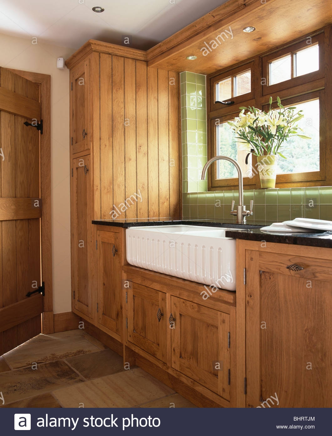 White Belfast Sink In Country Kitchen With Fitted Oak Cupboards With Regard To Oak Cupboards (#12 of 12)