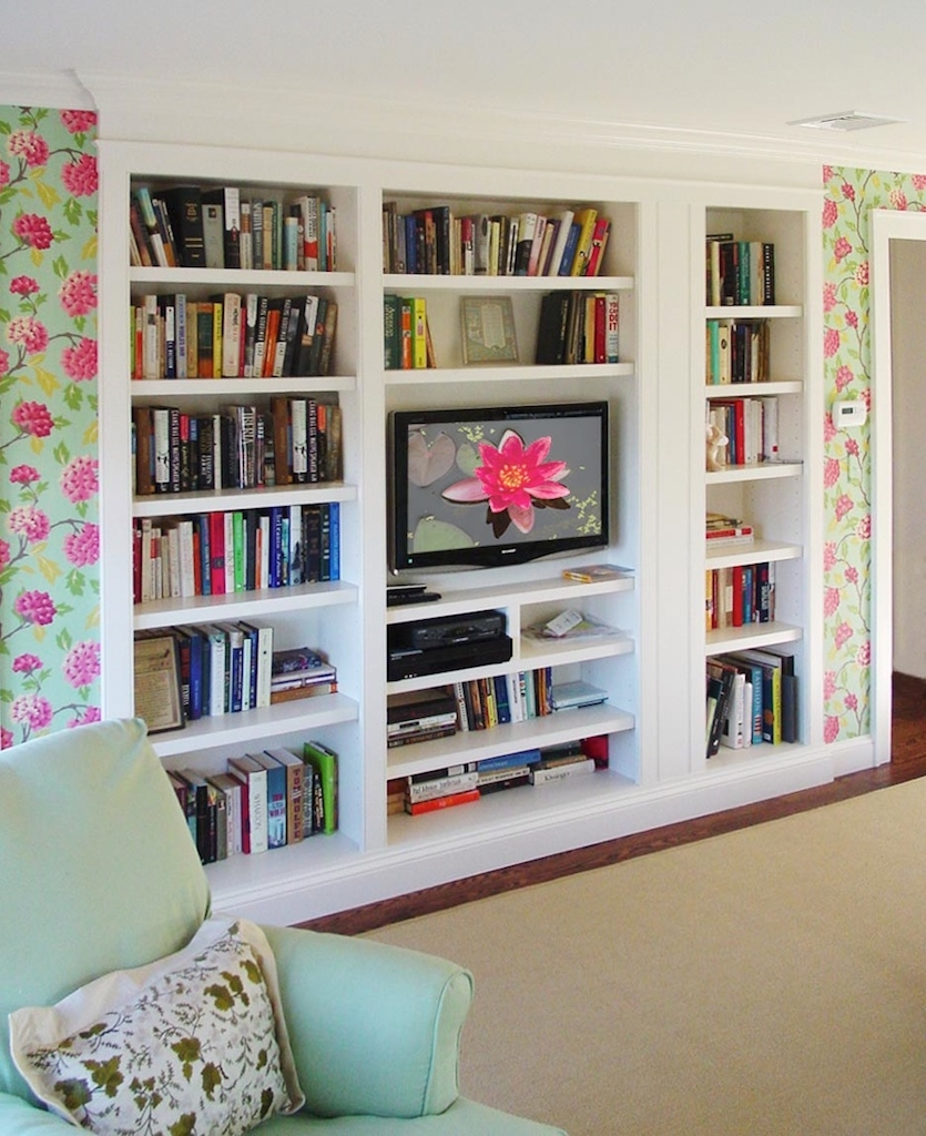White Built In Bookshelves Idi Design Within Built In Bookcases With Tv (#15 of 15)