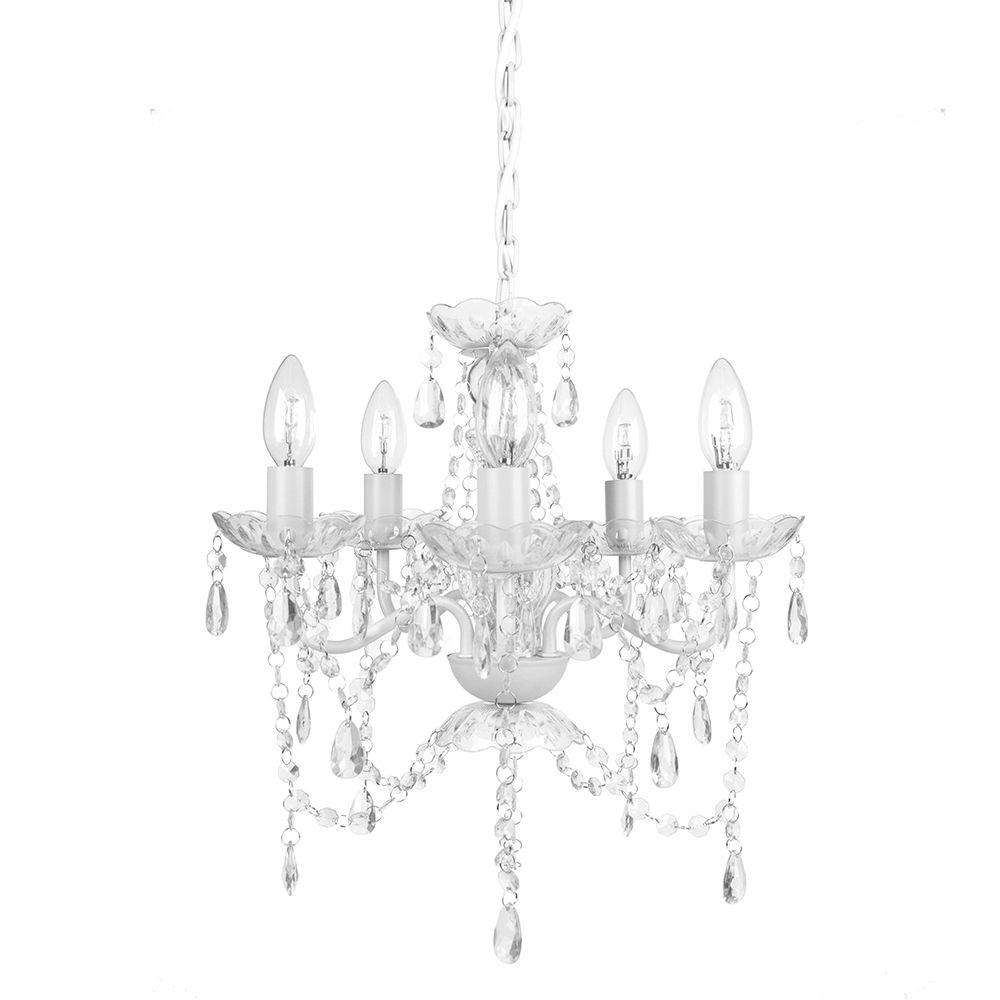 White Chandeliers Hanging Lights The Home Depot With White Chandelier (#11 of 12)