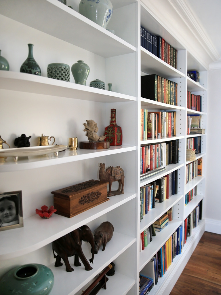 White Curved Built In Shelving Unit Bespoke Furniture Fitted Regarding Bespoke Shelving Units (View 15 of 15)