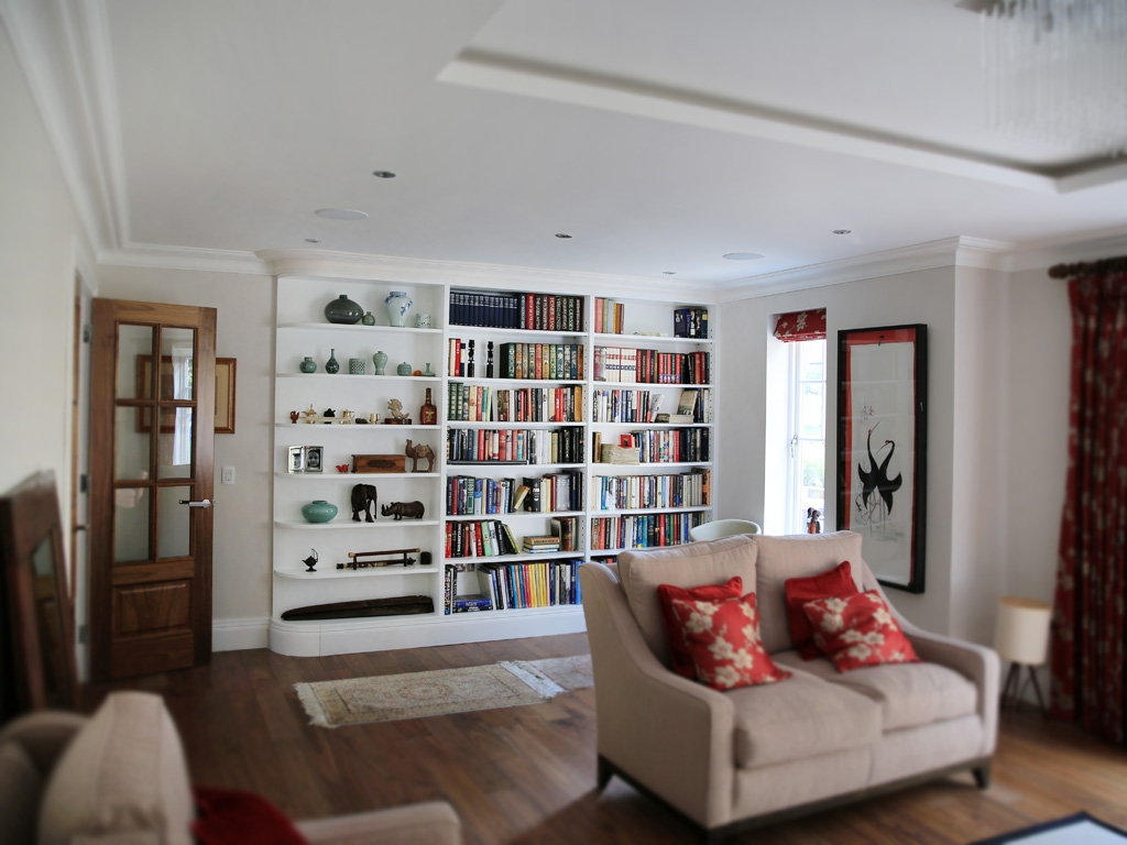 White Curved Built In Shelving Unit Bespoke Furniture Fitted Regarding Fitted Shelving Units (View 15 of 15)