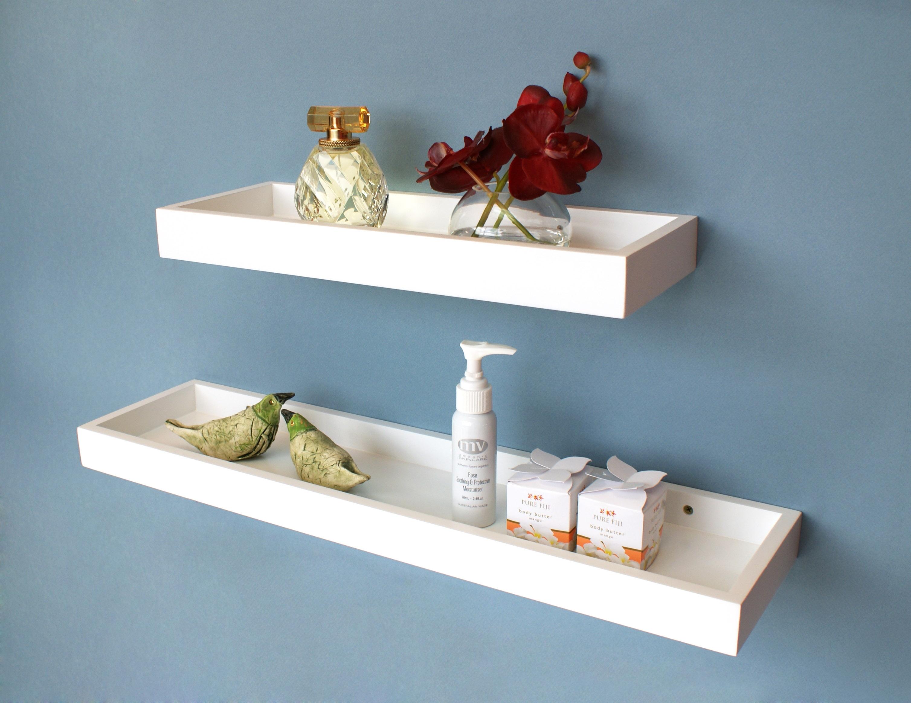 White Floating Multi Shelf 400x150x40mm Mastershelf For Floating Shelf 40cm (#15 of 15)