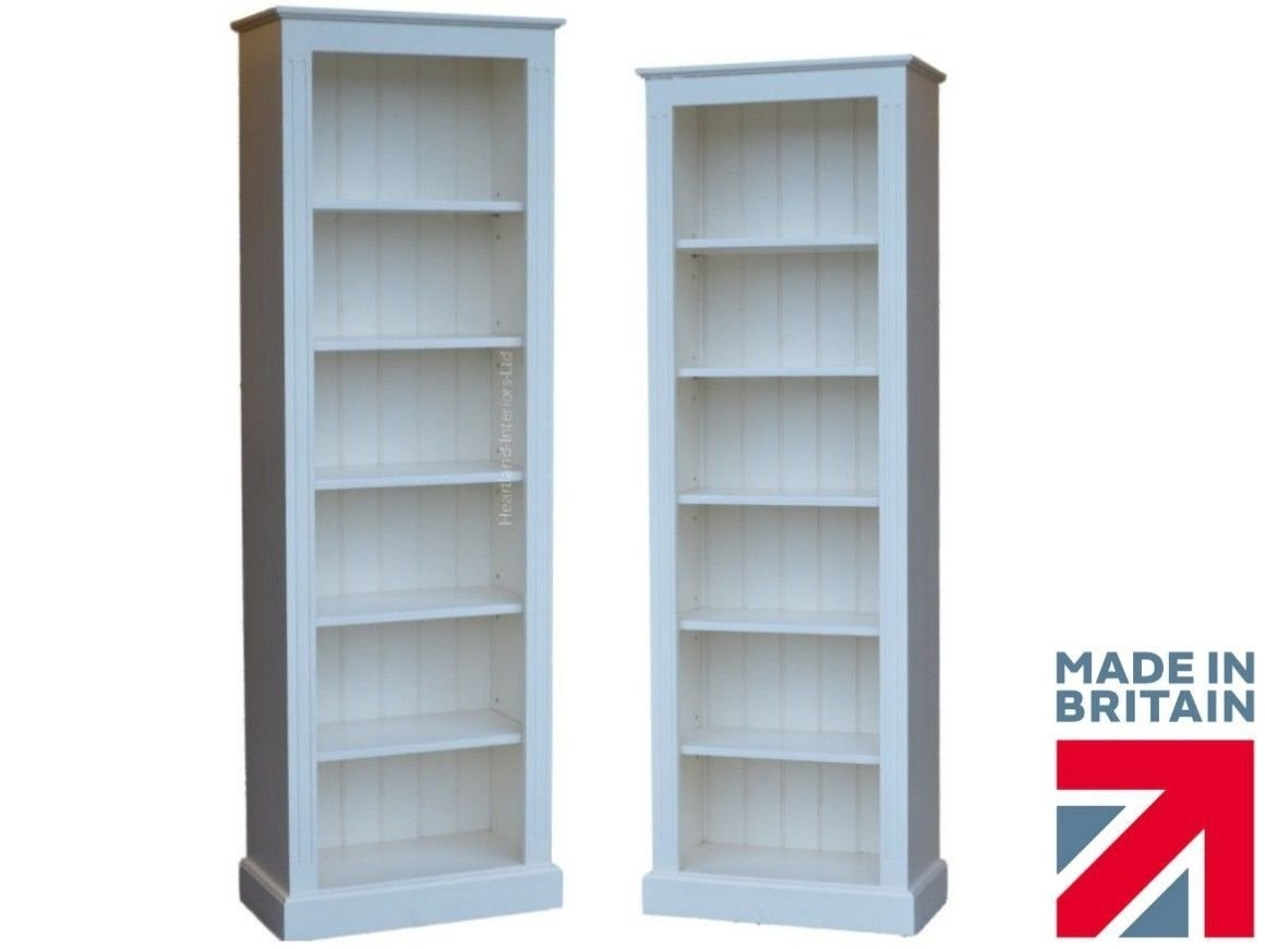 White Painted Bookcase 7ft X 3ft Solid Wood Adjustable Display Regarding White Painted Bookcase (#11 of 15)
