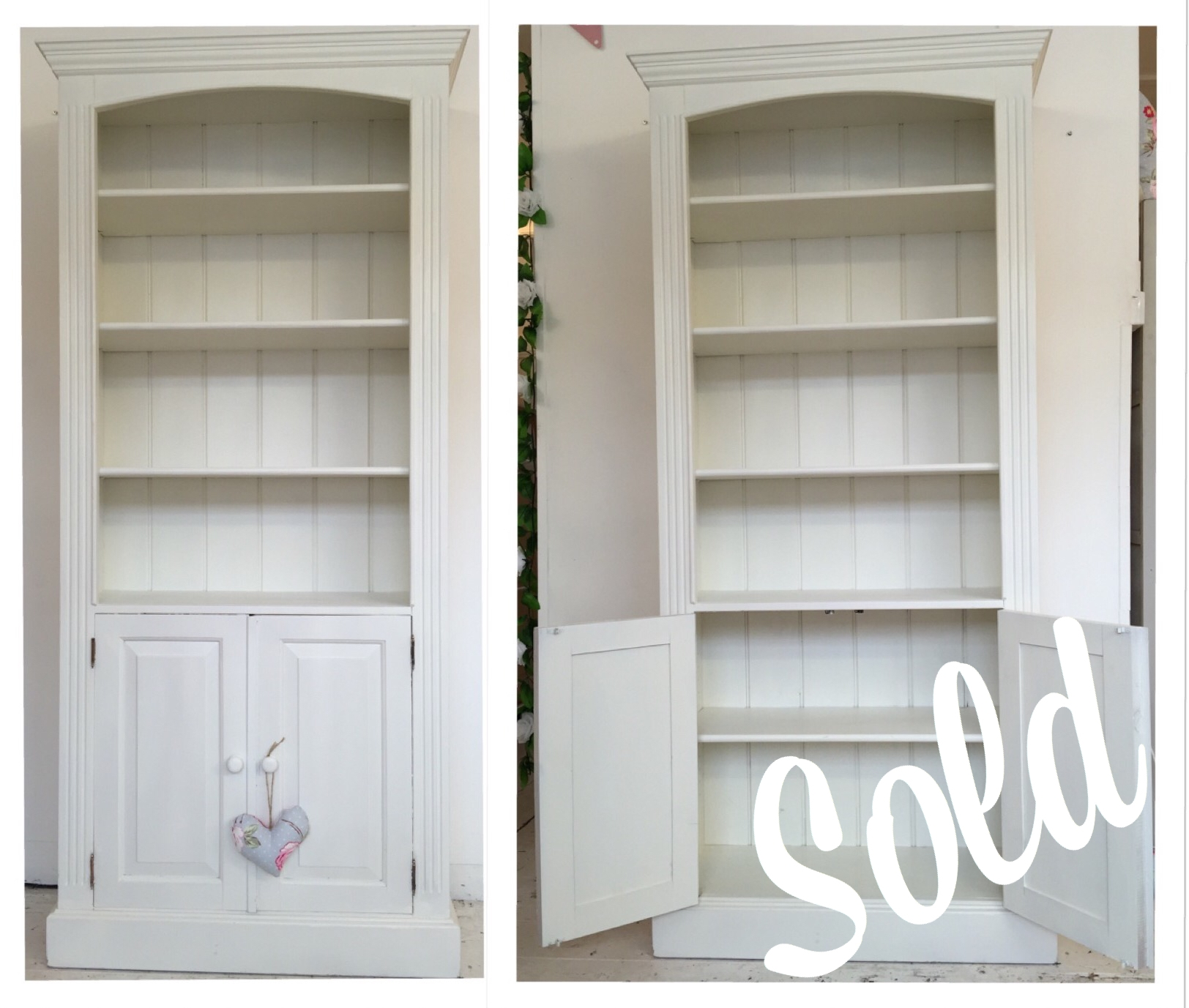 Popular Photo of White Bookcase With Cupboard
