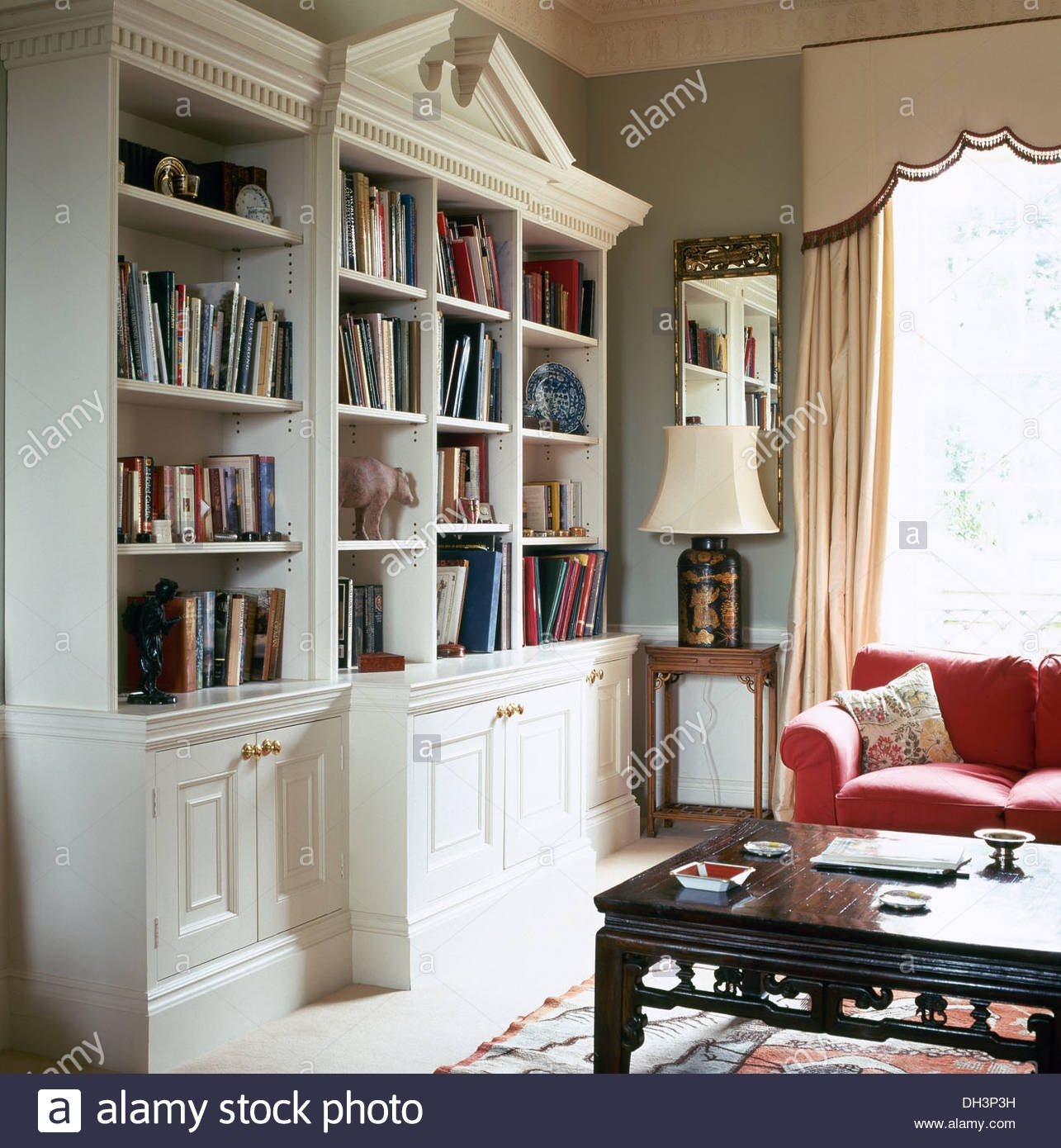 White Painted Fitted Bookcase With Central Pediment In With Regard To Fitted Bookcase (#15 of 15)