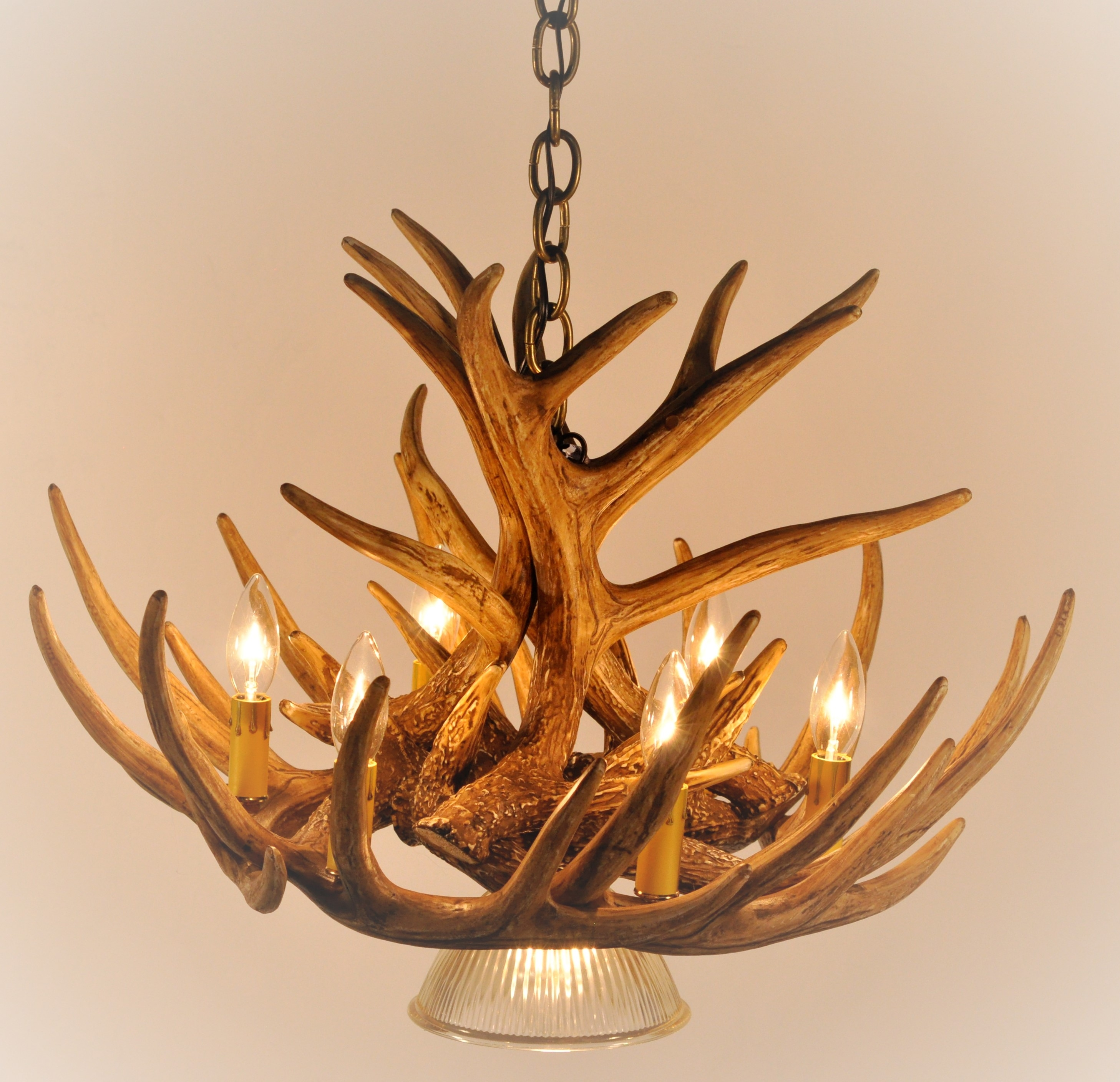 Whitetail Deer 9 Antler Cascade Chandelier With 1 Downlight Inside Large Antler Chandelier (#11 of 12)