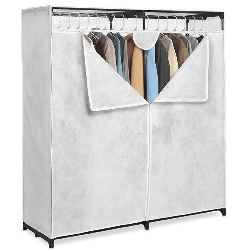Whitmor Double Rod Freestanding Closet Silverblack Walmart Regarding Mobile Wardrobe Cabinets (#15 of 15)