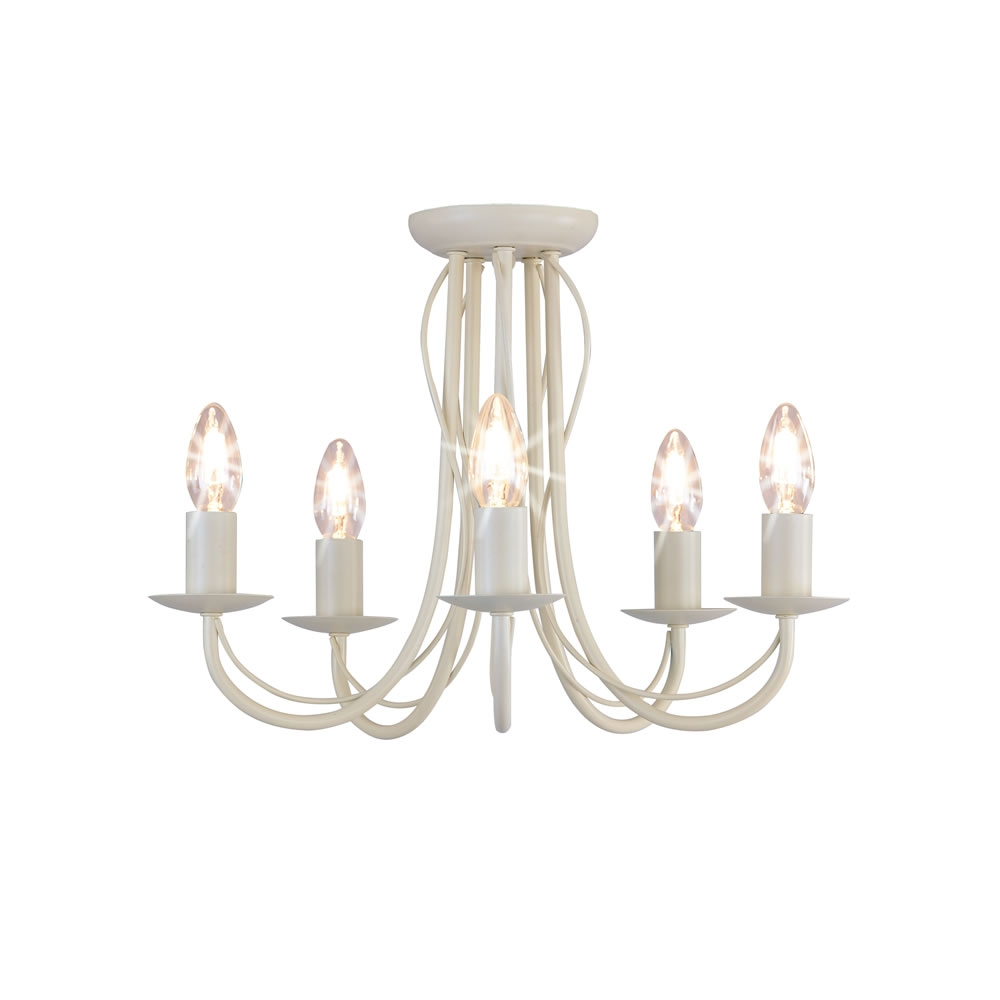 Wilko 5 Arm Chandelier Metal Ceiling Light Fitting Cream At Wilko Throughout Cream Chandelier (#12 of 12)