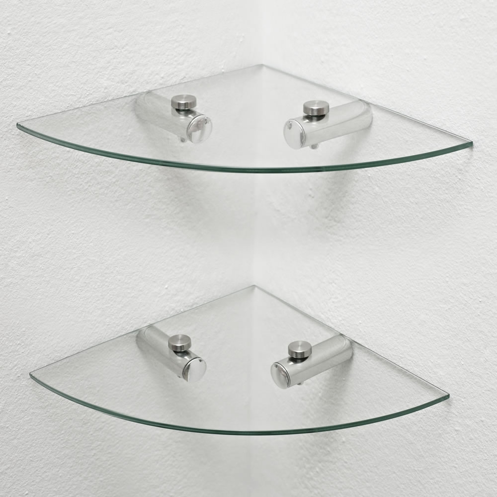 Wilko Glass Corner Shelves 2pk At Wilko Throughout Glass Corner Shelves (#12 of 12)