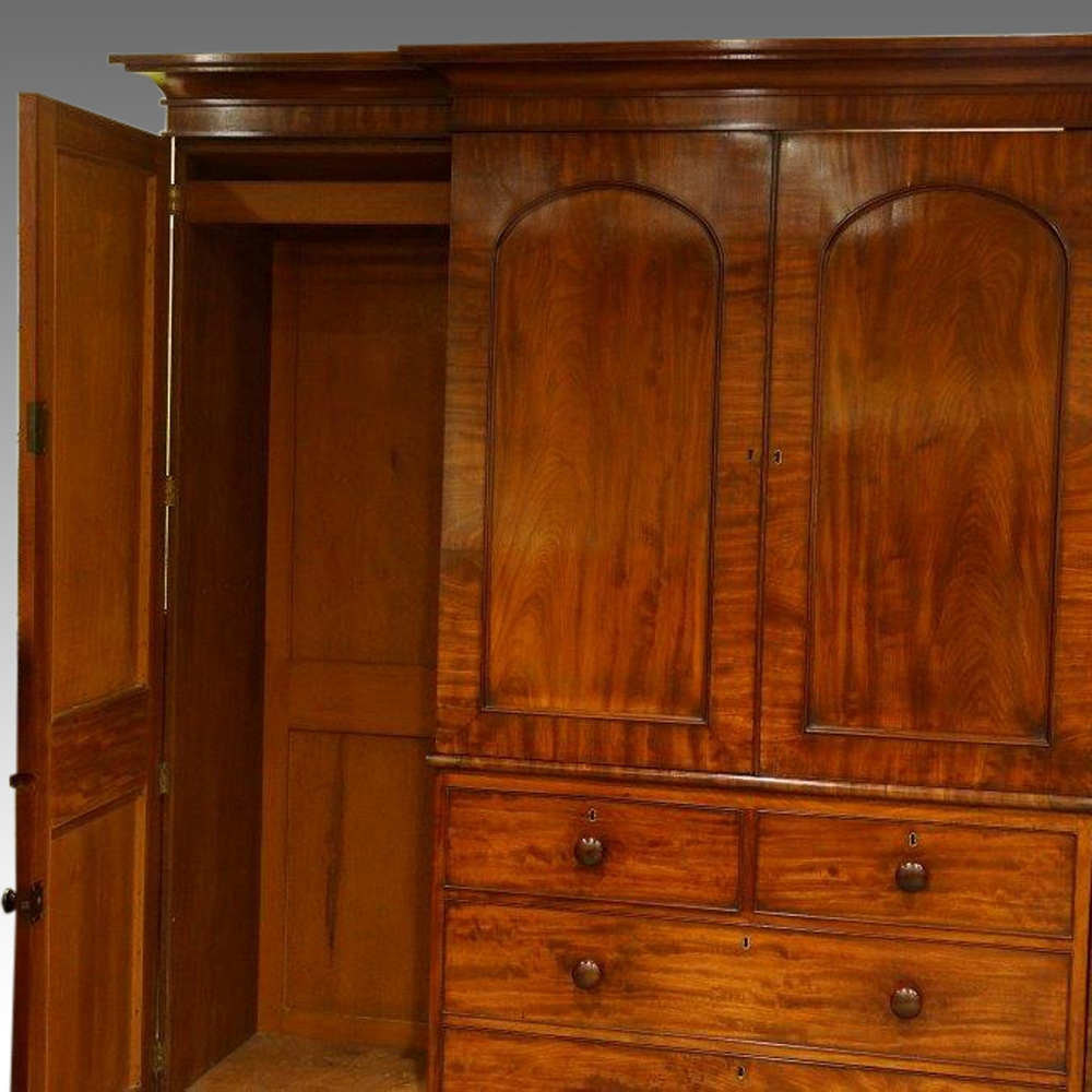William Iv Mahogany 4 Door Break Front Wardrobe Now Sold With Breakfront Wardrobe (View 15 of 15)