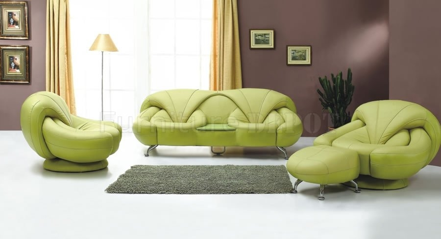 Wonderful Green Leather Sectional Sofa Furniture Modern White Inside Green Sofa Chairs (View 2 of 15)