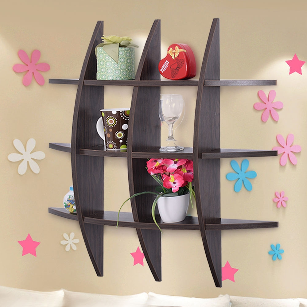 Wood Wall Shelves Cross Shelf Display Floating Storage Furniture With Regard To Wall Shelves (#12 of 12)
