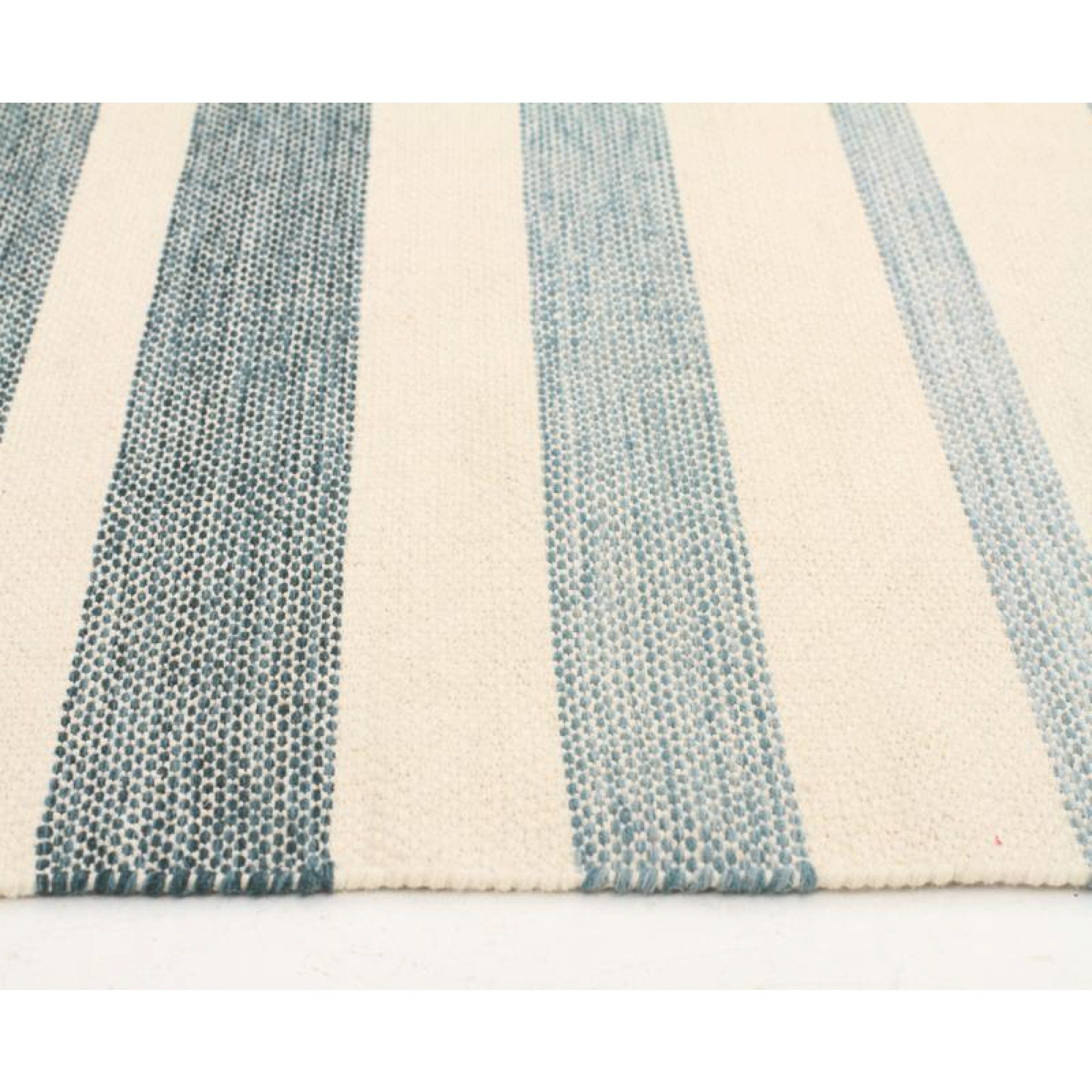 Wool Cotton Herblish Teal Flatweave Floor Area Rug Free Shipping In Flat Weave Wool Area Rugs (#15 of 15)