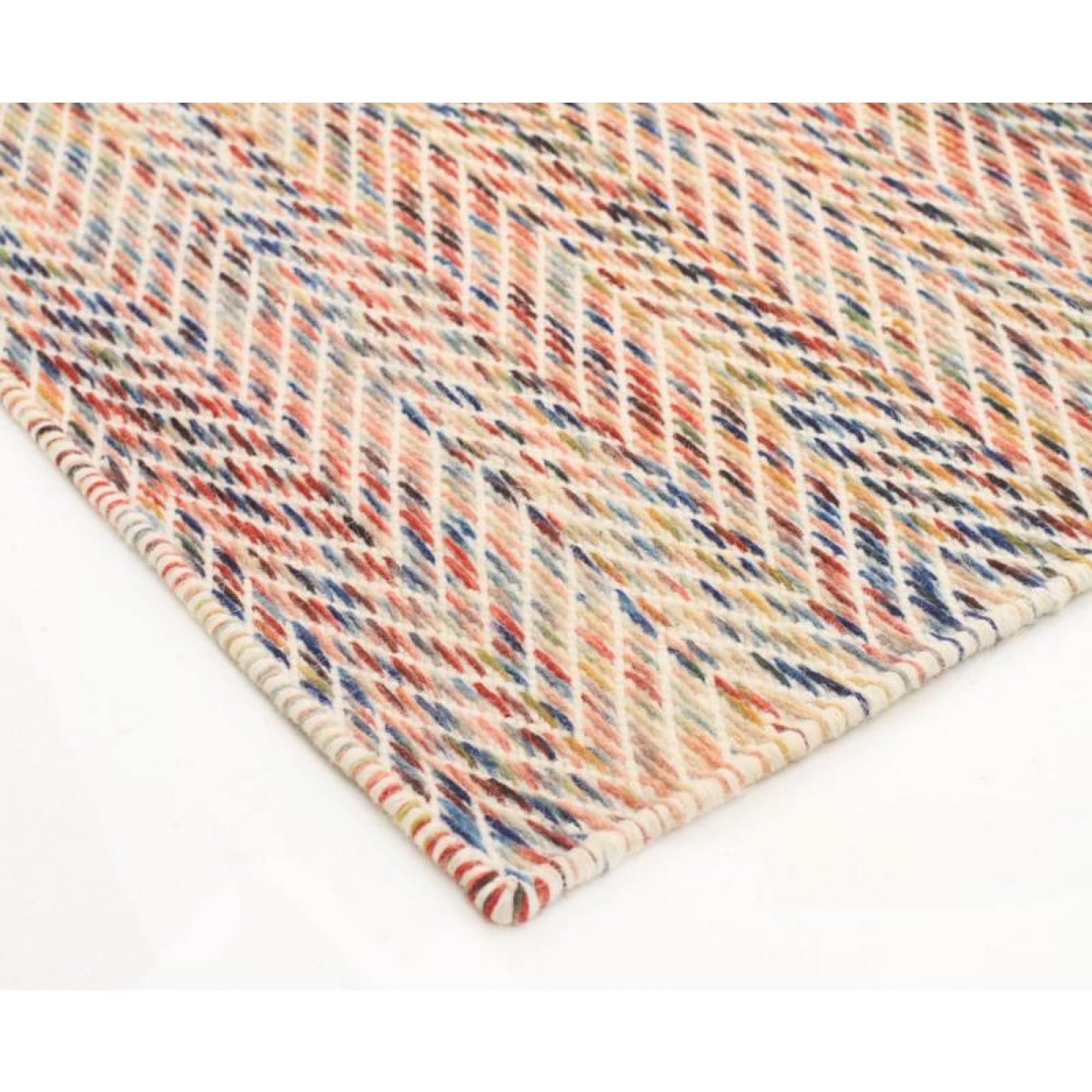 Wool Flat Weave Huish Herringbone Multi Coloured Floor Area Rug Intended For Wool Flat Weave Area Rugs (#13 of 15)