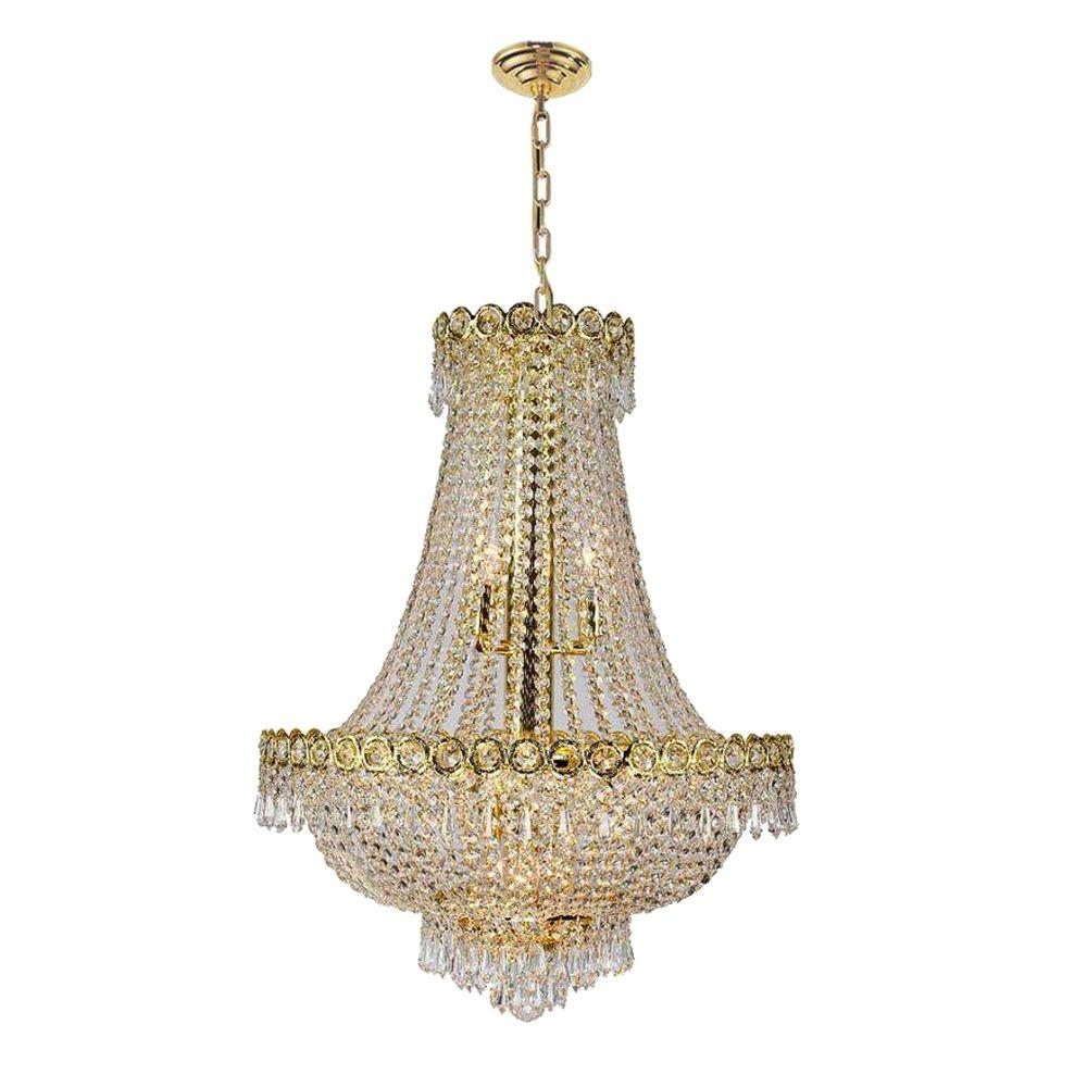 Worldwide Lighting Empire Collection 12 Light Gold And Clear Regarding Crystal Gold Chandelier (#12 of 12)