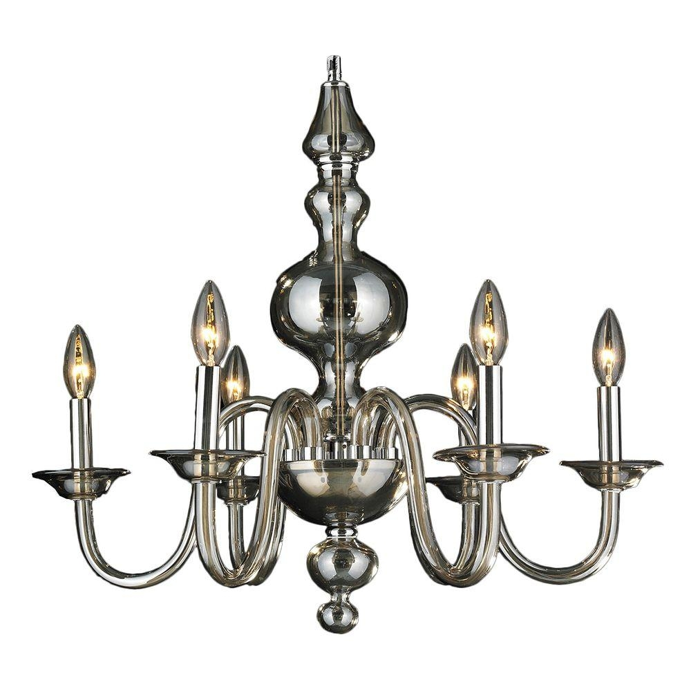 Worldwide Lighting Murano Collection 6 Light Polished Chrome Hand Inside Chrome And Glass Chandelier (#12 of 12)