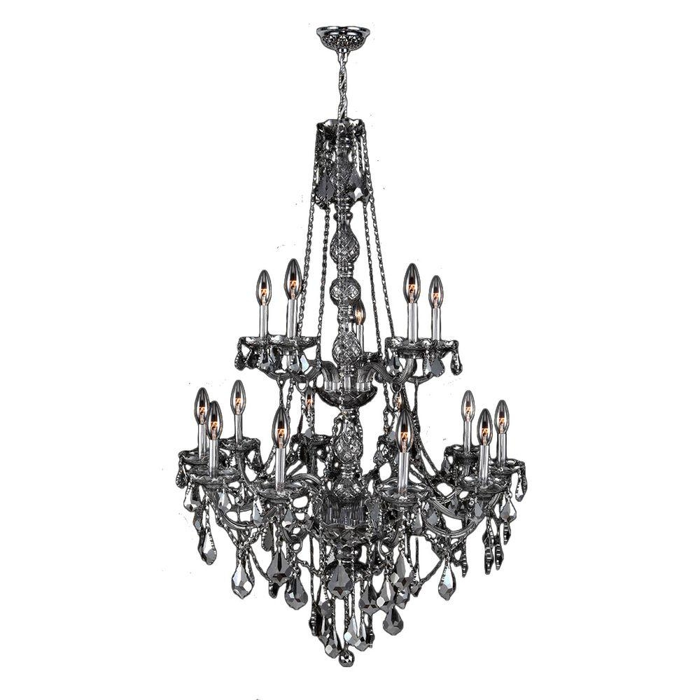 Worldwide Lighting Provence 15 Light Polished Chrome With Smoke With Regard To Grey Crystal Chandelier (#12 of 12)