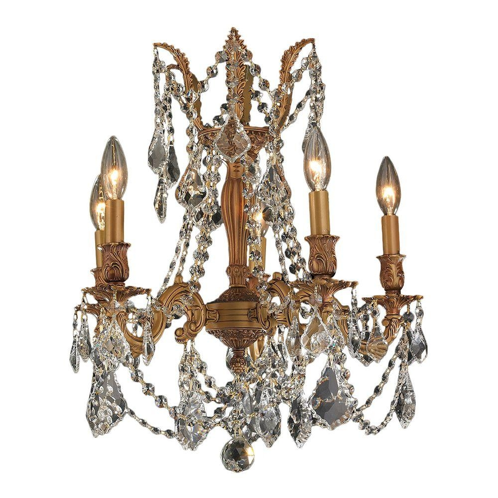 Worldwide Lighting Windsor Collection 5 Light French Gold And Regarding French Gold Chandelier (#11 of 12)