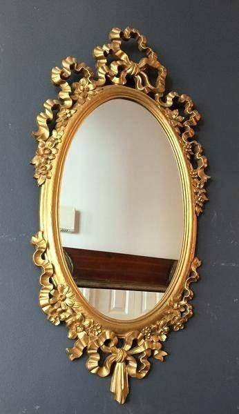 11 H Mirror Gold Oval Italian Vintage Decorative Upcycle Ornate For Small Gold Mirrors (View 15 of 20)