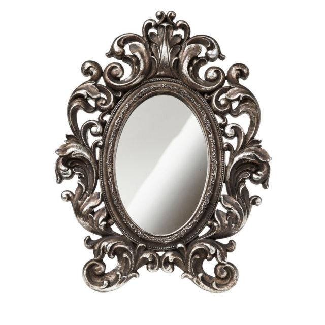 "11"" Shades Of Alchemy Victorian Style Mirror Antique Silver Ornate Intended For Ornate Oval Mirrors (#1 of 20)"